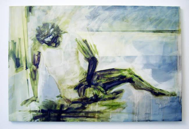 """""""von mir aus…"""", Kunstausstllung mit Katrin Graulich, Malerei; Silke Hermann, Mischtechnik; und Ines Dunemann und Clara Wicke, Performance; 25.3.2006 bis 10.4.2006"""